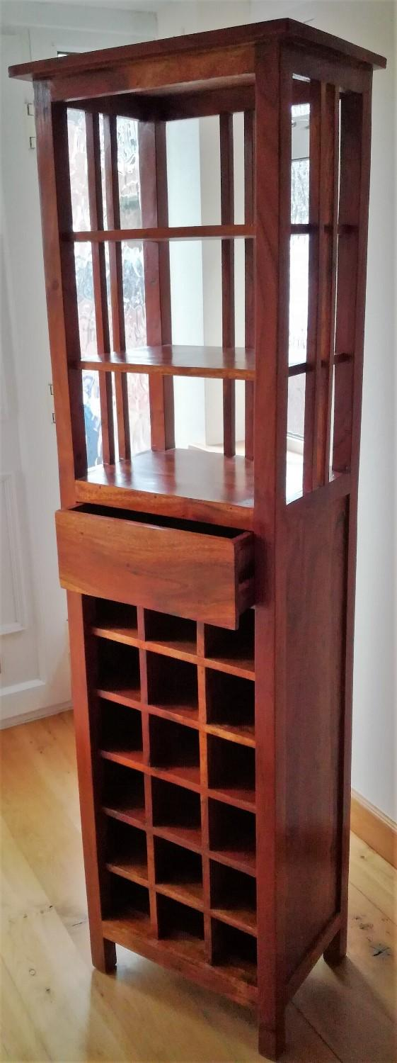 Preview of the first image of WINE RACK STORAGE CUPBOARD Sheesham Fruit Wood CONTEMPORARY.