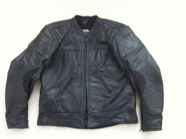 Preview of the first image of MENS BLACK LEATHER BIKE JACKET.