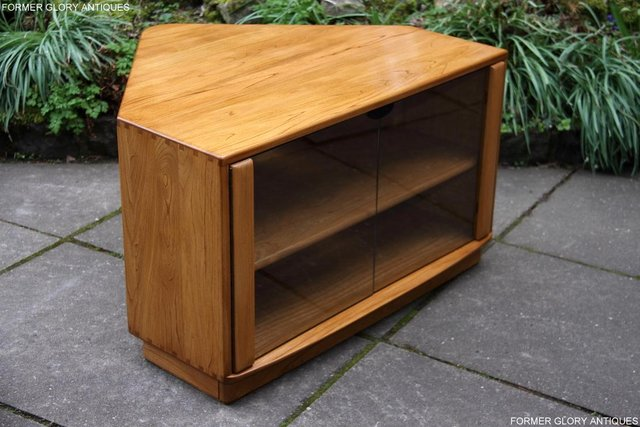 Preview of the first image of ERCOL WINDSOR LIGHT ELM CORNER TV STAND TABLE CABINET UNIT.