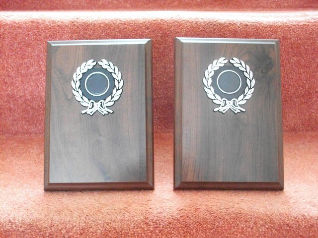 Preview of the first image of 2 x WOODEN PRESENTATION PLAQUES.