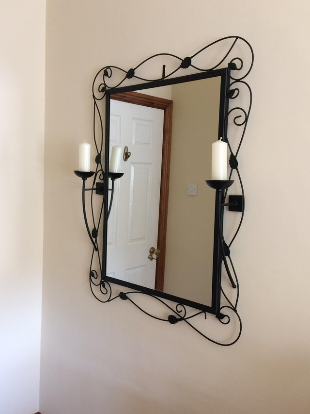 Preview of the first image of Large Black Wall Mirror - excellent condition.
