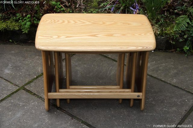 Image 3 of ERCOL WINDSOR ELM CLEAR FINISH NEST OF THREE COFFEE TABLES