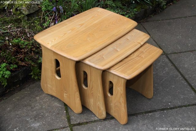 Image 4 of ERCOL WINDSOR ELM CLEAR FINISH NEST OF THREE COFFEE TABLES