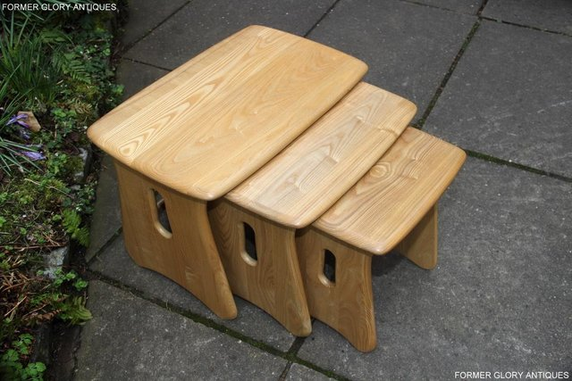 Image 6 of ERCOL WINDSOR ELM CLEAR FINISH NEST OF THREE COFFEE TABLES