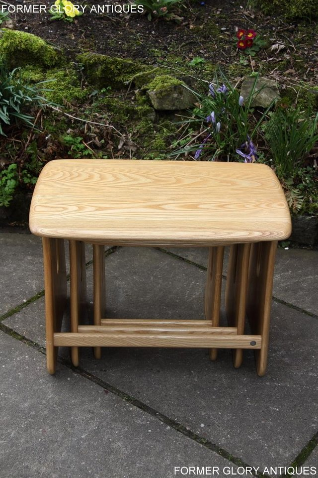 Image 7 of ERCOL WINDSOR ELM CLEAR FINISH NEST OF THREE COFFEE TABLES