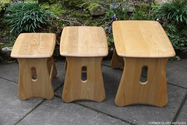 Image 9 of ERCOL WINDSOR ELM CLEAR FINISH NEST OF THREE COFFEE TABLES