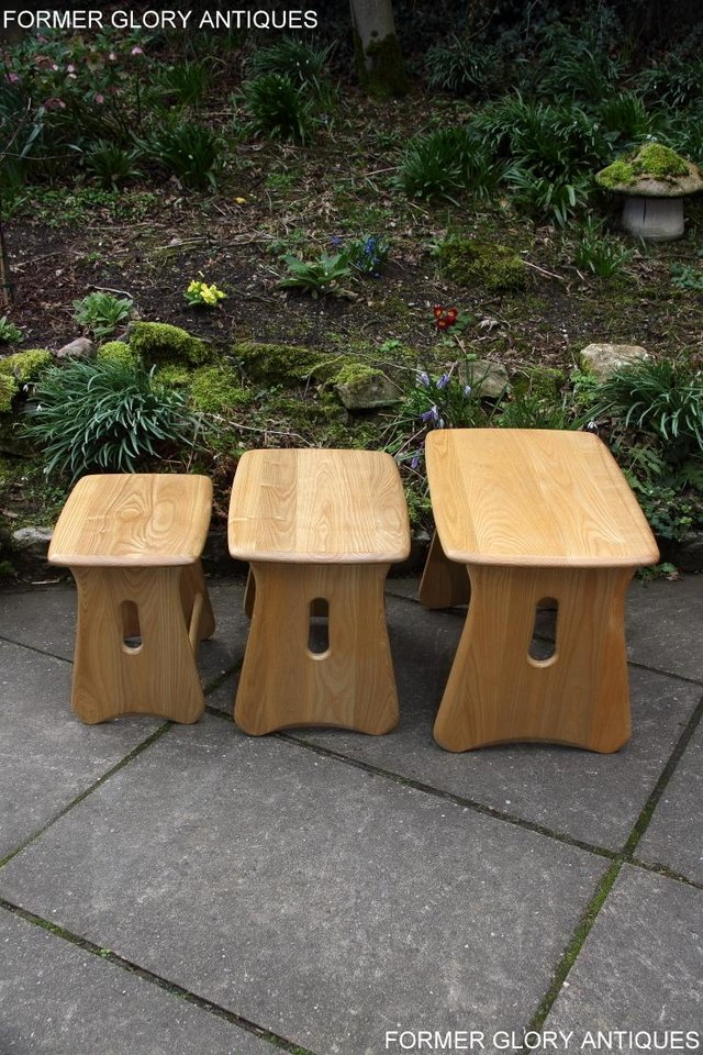 Image 12 of ERCOL WINDSOR ELM CLEAR FINISH NEST OF THREE COFFEE TABLES