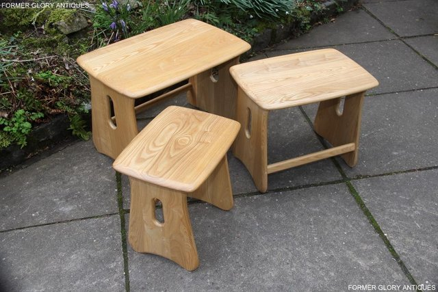 Image 13 of ERCOL WINDSOR ELM CLEAR FINISH NEST OF THREE COFFEE TABLES