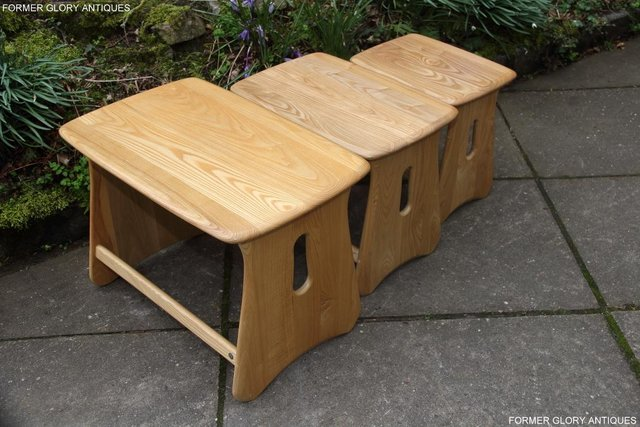 Image 14 of ERCOL WINDSOR ELM CLEAR FINISH NEST OF THREE COFFEE TABLES