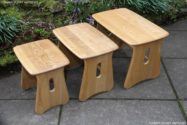 Image 15 of ERCOL WINDSOR ELM CLEAR FINISH NEST OF THREE COFFEE TABLES