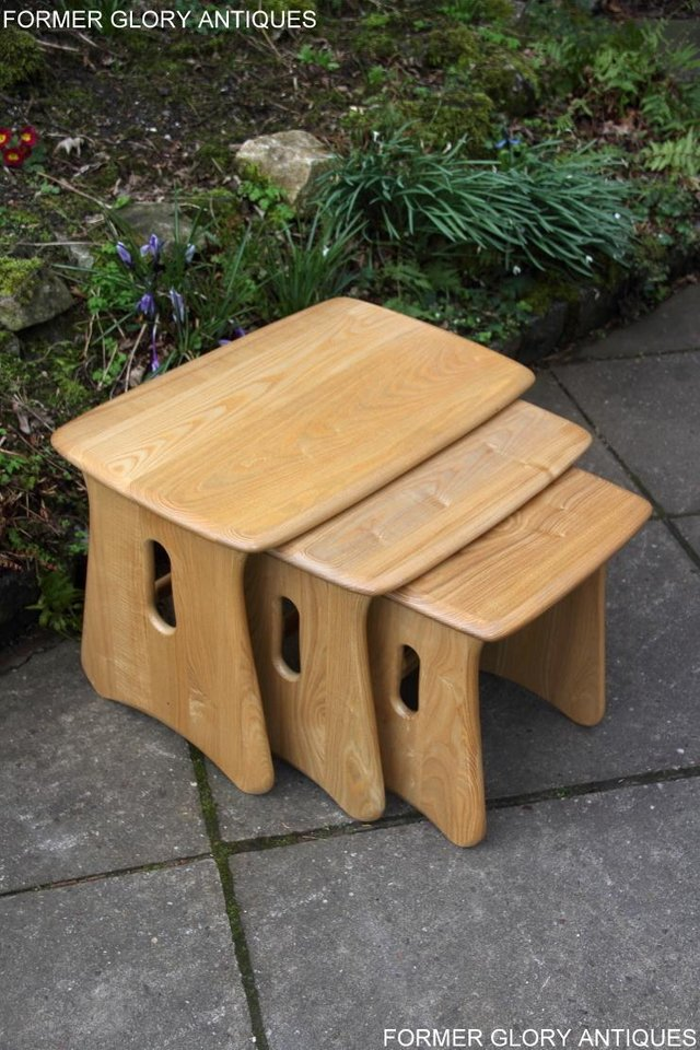 Image 16 of ERCOL WINDSOR ELM CLEAR FINISH NEST OF THREE COFFEE TABLES