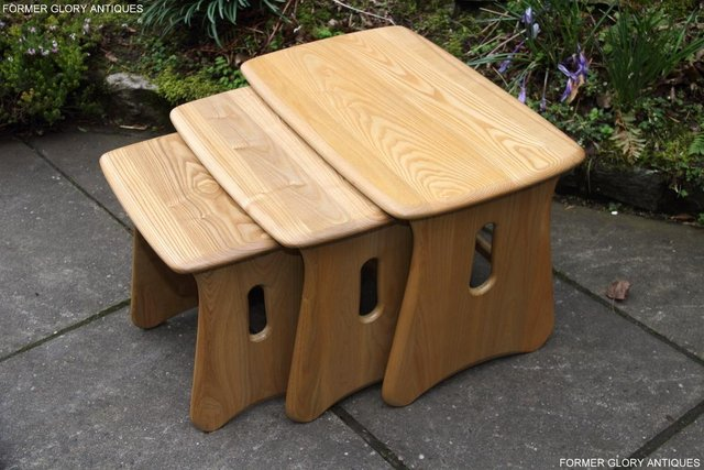 Image 17 of ERCOL WINDSOR ELM CLEAR FINISH NEST OF THREE COFFEE TABLES