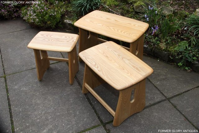Image 19 of ERCOL WINDSOR ELM CLEAR FINISH NEST OF THREE COFFEE TABLES