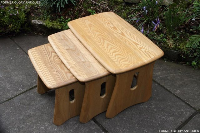 Image 21 of ERCOL WINDSOR ELM CLEAR FINISH NEST OF THREE COFFEE TABLES