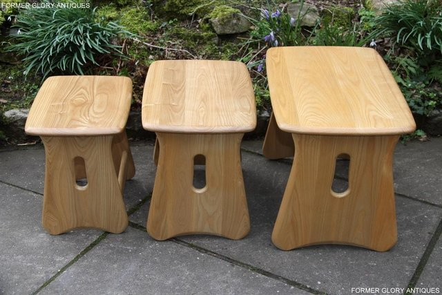 Image 25 of ERCOL WINDSOR ELM CLEAR FINISH NEST OF THREE COFFEE TABLES