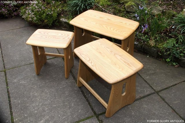 Image 27 of ERCOL WINDSOR ELM CLEAR FINISH NEST OF THREE COFFEE TABLES