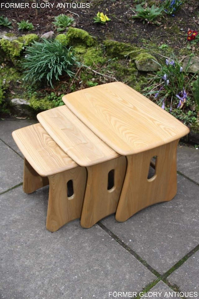 Image 30 of ERCOL WINDSOR ELM CLEAR FINISH NEST OF THREE COFFEE TABLES
