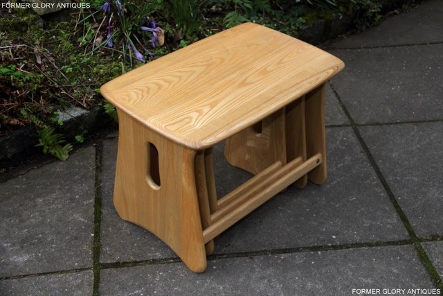 Image 37 of ERCOL WINDSOR ELM CLEAR FINISH NEST OF THREE COFFEE TABLES