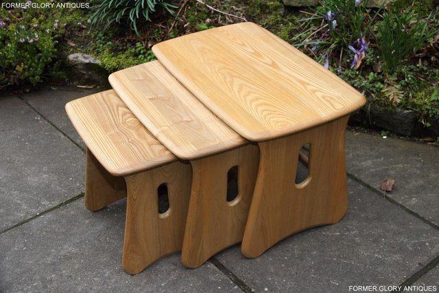 Image 38 of ERCOL WINDSOR ELM CLEAR FINISH NEST OF THREE COFFEE TABLES