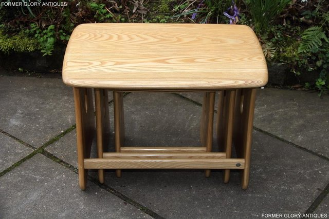 Image 45 of ERCOL WINDSOR ELM CLEAR FINISH NEST OF THREE COFFEE TABLES