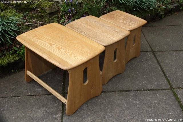 Image 51 of ERCOL WINDSOR ELM CLEAR FINISH NEST OF THREE COFFEE TABLES