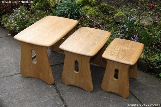 Image 56 of ERCOL WINDSOR ELM CLEAR FINISH NEST OF THREE COFFEE TABLES