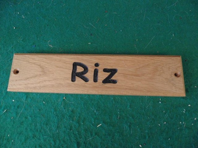 Preview of the first image of Animal name Plate  '' RIZ ''    P+P £3.
