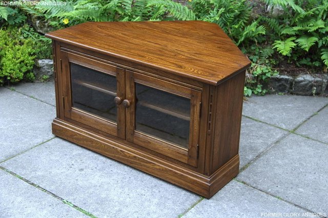 Image 2 of ERCOL GOLDEN DAWN ELM CORNER TV CABINET STAND TABLE UNIT