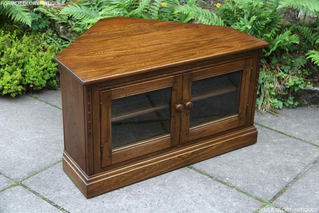 Image 3 of ERCOL GOLDEN DAWN ELM CORNER TV CABINET STAND TABLE UNIT