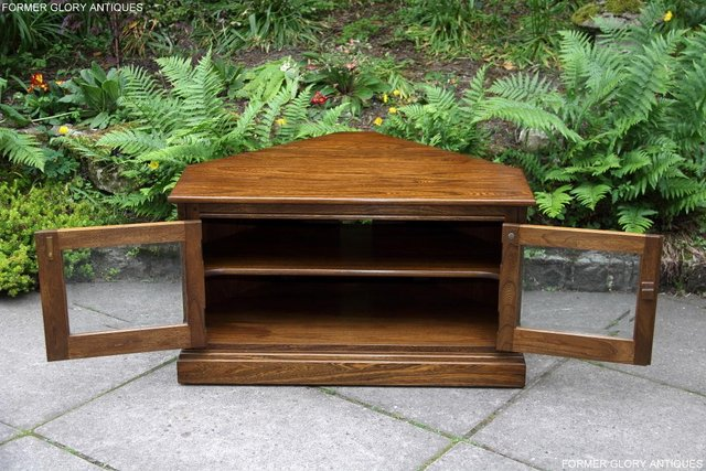 Image 4 of ERCOL GOLDEN DAWN ELM CORNER TV CABINET STAND TABLE UNIT