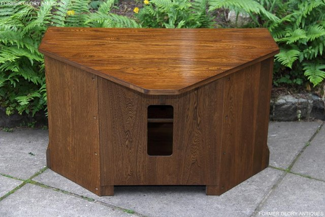 Image 5 of ERCOL GOLDEN DAWN ELM CORNER TV CABINET STAND TABLE UNIT