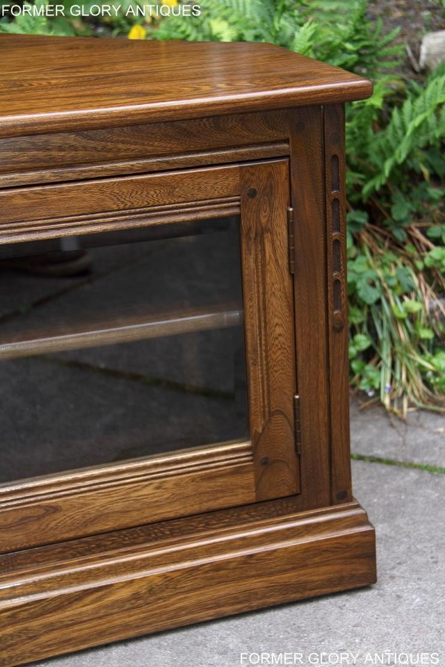 Image 6 of ERCOL GOLDEN DAWN ELM CORNER TV CABINET STAND TABLE UNIT