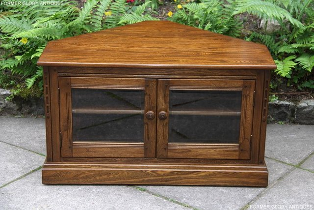 Image 7 of ERCOL GOLDEN DAWN ELM CORNER TV CABINET STAND TABLE UNIT