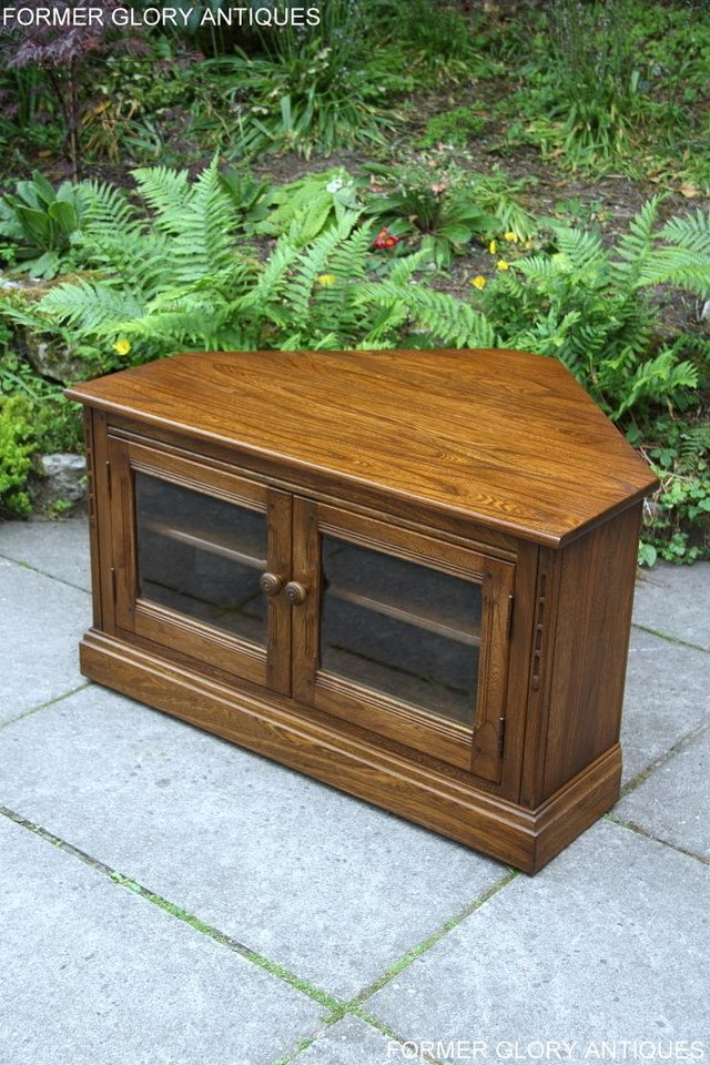 Image 11 of ERCOL GOLDEN DAWN ELM CORNER TV CABINET STAND TABLE UNIT
