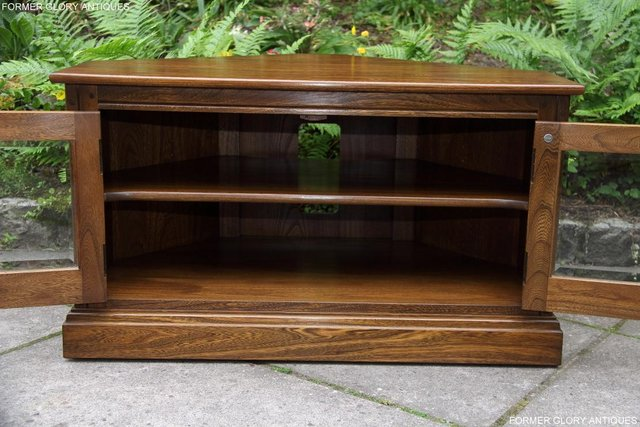 Image 12 of ERCOL GOLDEN DAWN ELM CORNER TV CABINET STAND TABLE UNIT