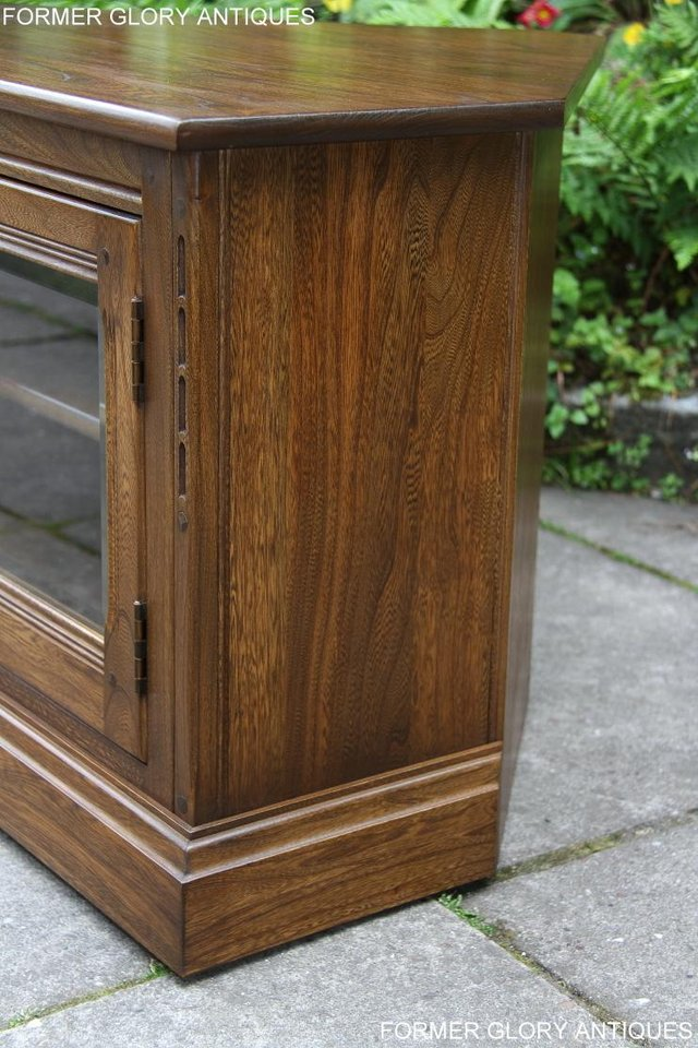 Image 13 of ERCOL GOLDEN DAWN ELM CORNER TV CABINET STAND TABLE UNIT