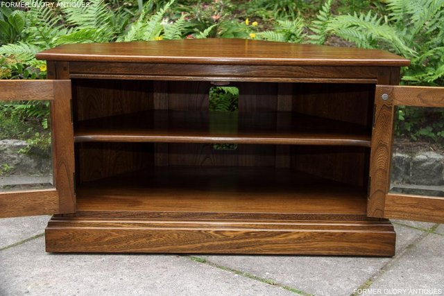 Image 17 of ERCOL GOLDEN DAWN ELM CORNER TV CABINET STAND TABLE UNIT