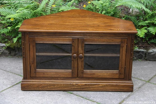 Image 20 of ERCOL GOLDEN DAWN ELM CORNER TV CABINET STAND TABLE UNIT