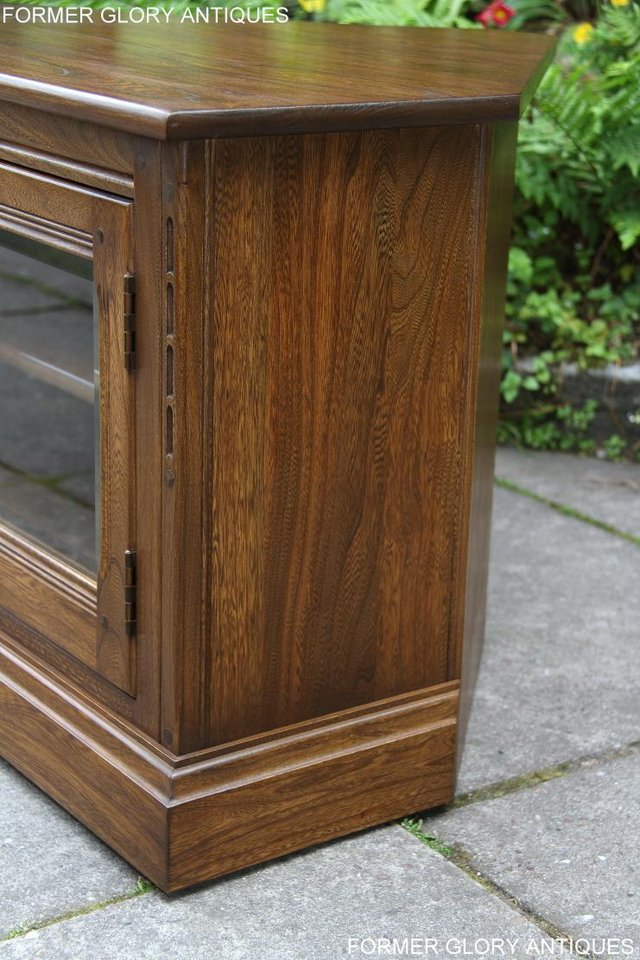 Image 23 of ERCOL GOLDEN DAWN ELM CORNER TV CABINET STAND TABLE UNIT