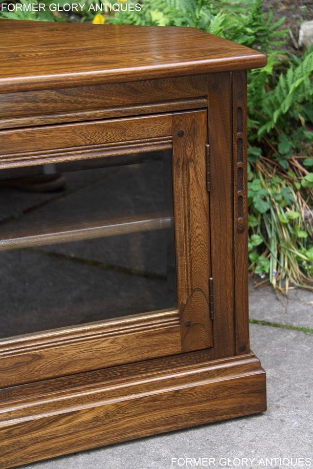 Image 24 of ERCOL GOLDEN DAWN ELM CORNER TV CABINET STAND TABLE UNIT