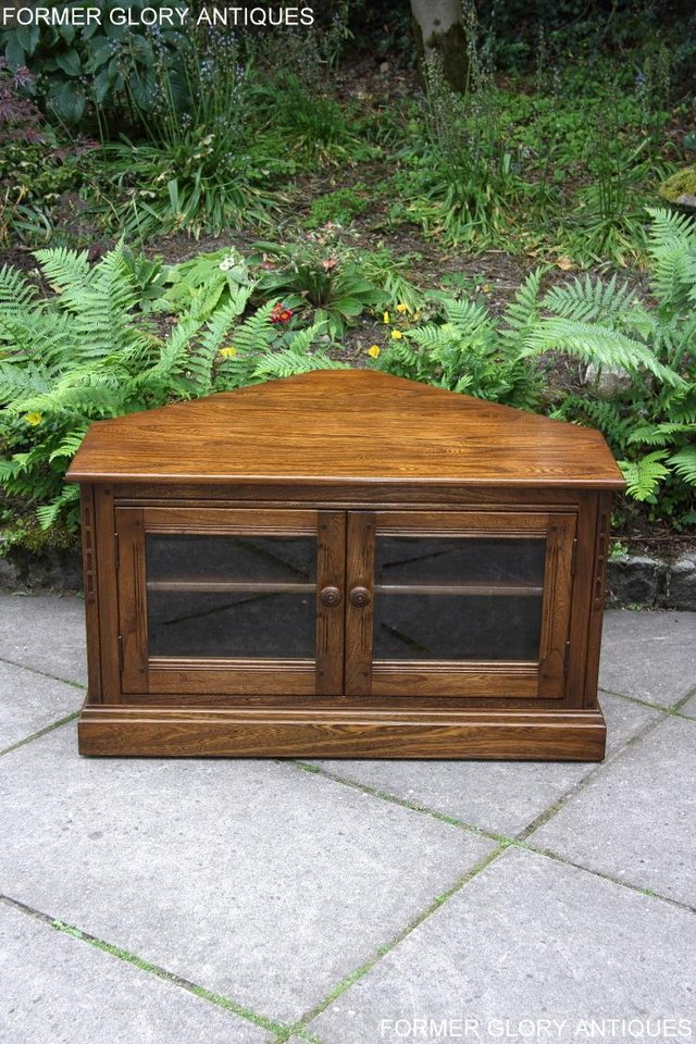 Image 33 of ERCOL GOLDEN DAWN ELM CORNER TV CABINET STAND TABLE UNIT