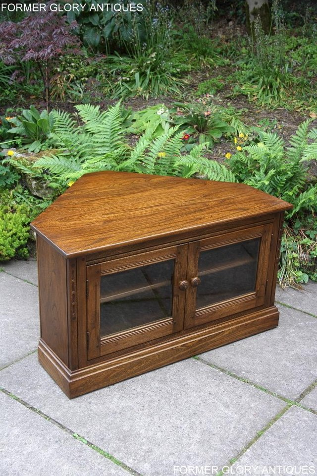 Image 34 of ERCOL GOLDEN DAWN ELM CORNER TV CABINET STAND TABLE UNIT