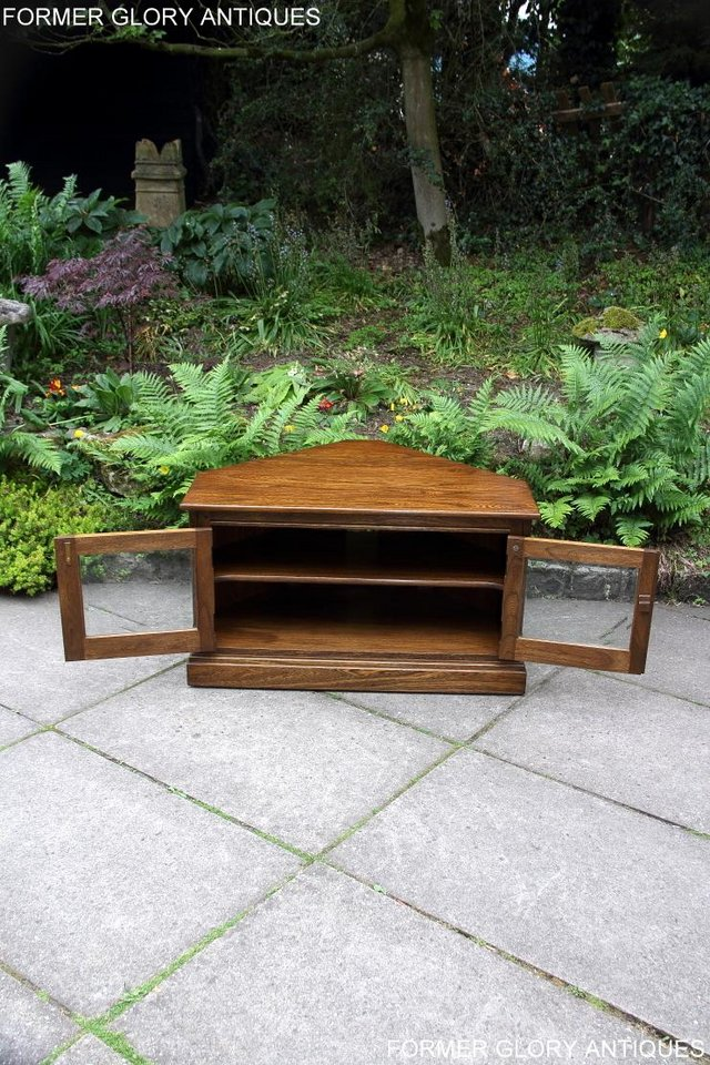 Image 35 of ERCOL GOLDEN DAWN ELM CORNER TV CABINET STAND TABLE UNIT