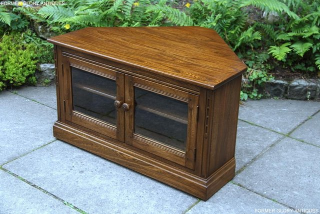 Image 38 of ERCOL GOLDEN DAWN ELM CORNER TV CABINET STAND TABLE UNIT