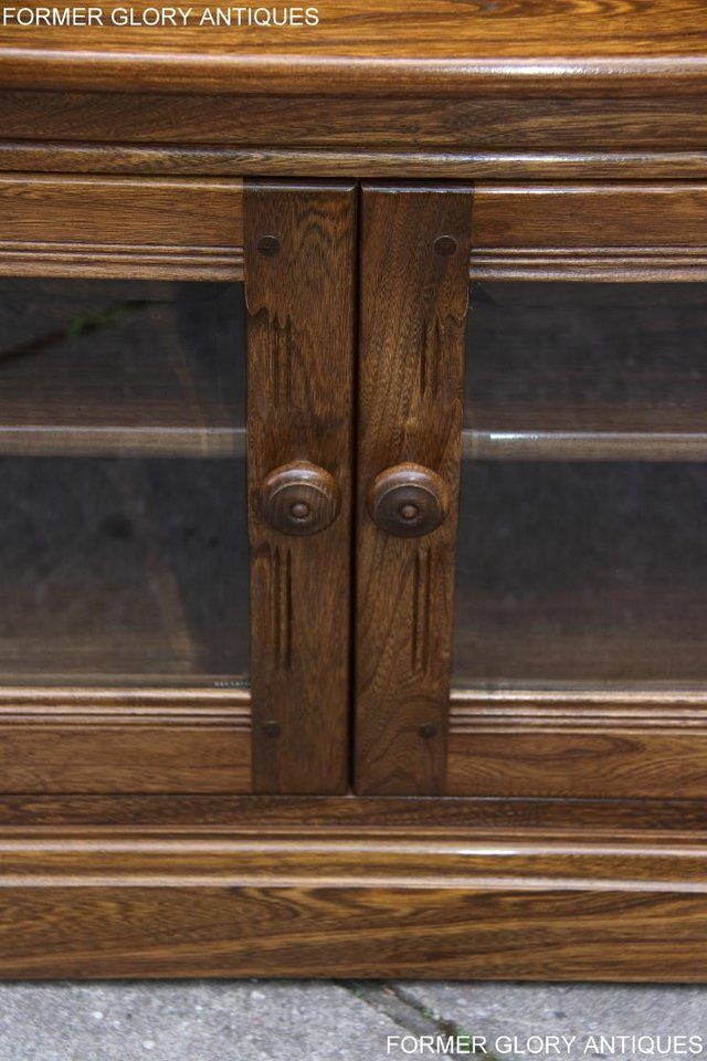 Image 44 of ERCOL GOLDEN DAWN ELM CORNER TV CABINET STAND TABLE UNIT