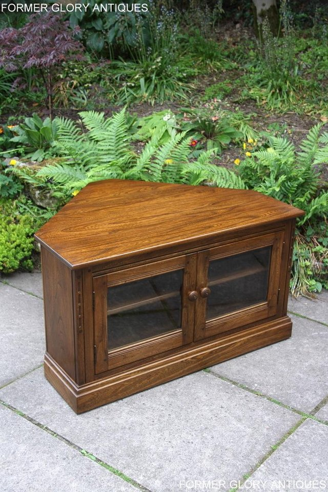 Image 48 of ERCOL GOLDEN DAWN ELM CORNER TV CABINET STAND TABLE UNIT