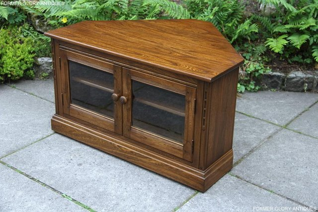 Image 49 of ERCOL GOLDEN DAWN ELM CORNER TV CABINET STAND TABLE UNIT