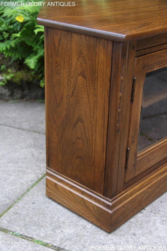Image 50 of ERCOL GOLDEN DAWN ELM CORNER TV CABINET STAND TABLE UNIT
