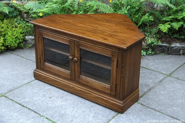 Image 53 of ERCOL GOLDEN DAWN ELM CORNER TV CABINET STAND TABLE UNIT