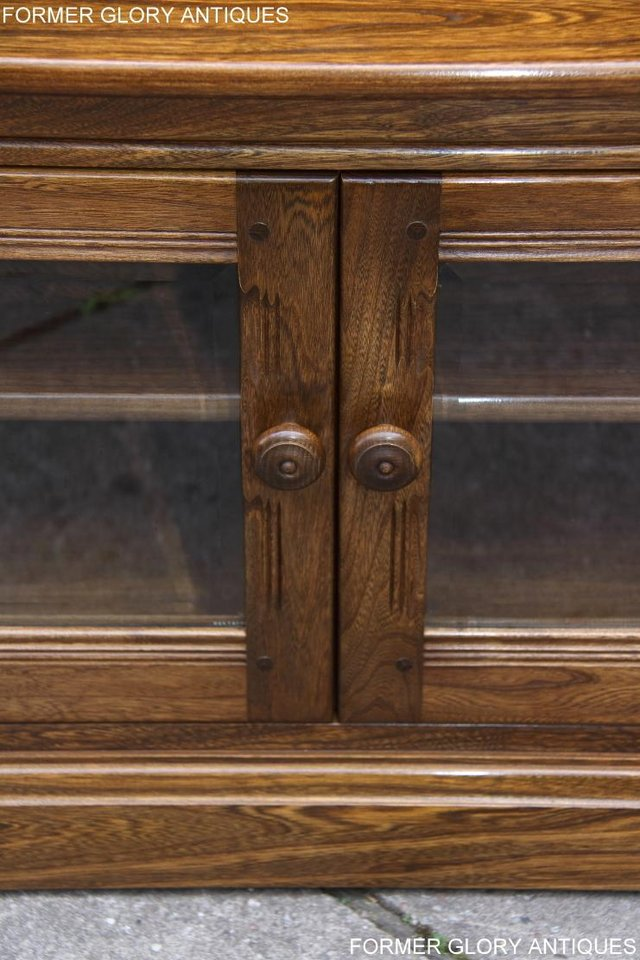 Image 55 of ERCOL GOLDEN DAWN ELM CORNER TV CABINET STAND TABLE UNIT
